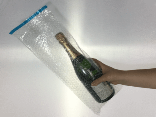 Champagne Bottle Bubble Wrap Bags - 180 x 435mm + Self seal lip - 10 pk