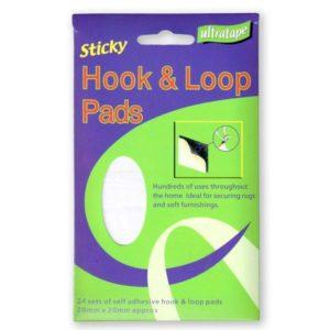 Ultratape Hook & Loop Pads Sticky Pads Self Adhesive 20mm x 20mm - Pk24