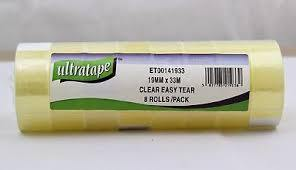 8 Roll Pack - Ultratape Clear Adhesive Tape 19mm x 33M